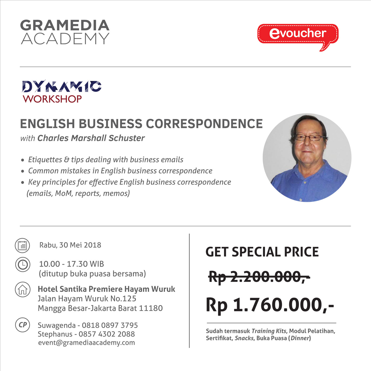 "Dynamic Workshop ""English Business Correspondence"" bersama Charles Marshall Schuster"