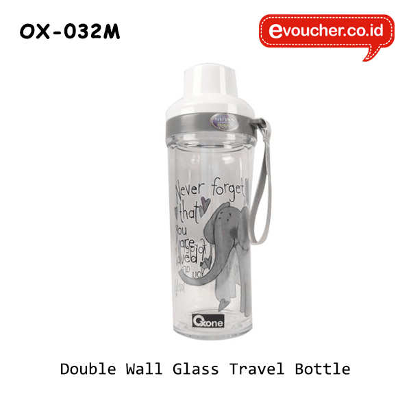 OX-032M | Double Wall Glass Travel Bottle - Gajah