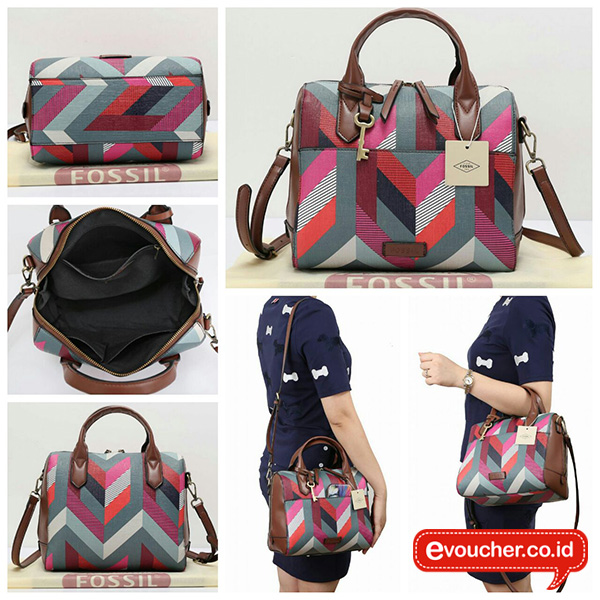 Fossil Fiona Satchel Chevron Blue 100% Original